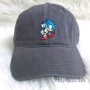 SEGA Accessories - Sonic The Hedgehog Embroidered Grey Dad Hat Cap f9720bd5c7a6